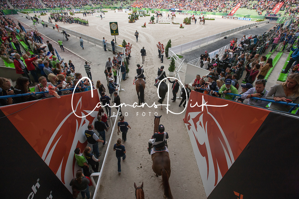 Team FRA, Simon Delestre, Penelope Provost, Kevin Staut, Patrice Delaveau - Jumping Second Round Team Competition - Alltech FEI World Equestrian Games™ 2014 - Normandy, France.<br /> © Hippo Foto Team - Dirk Caremans<br /> 04/09/14