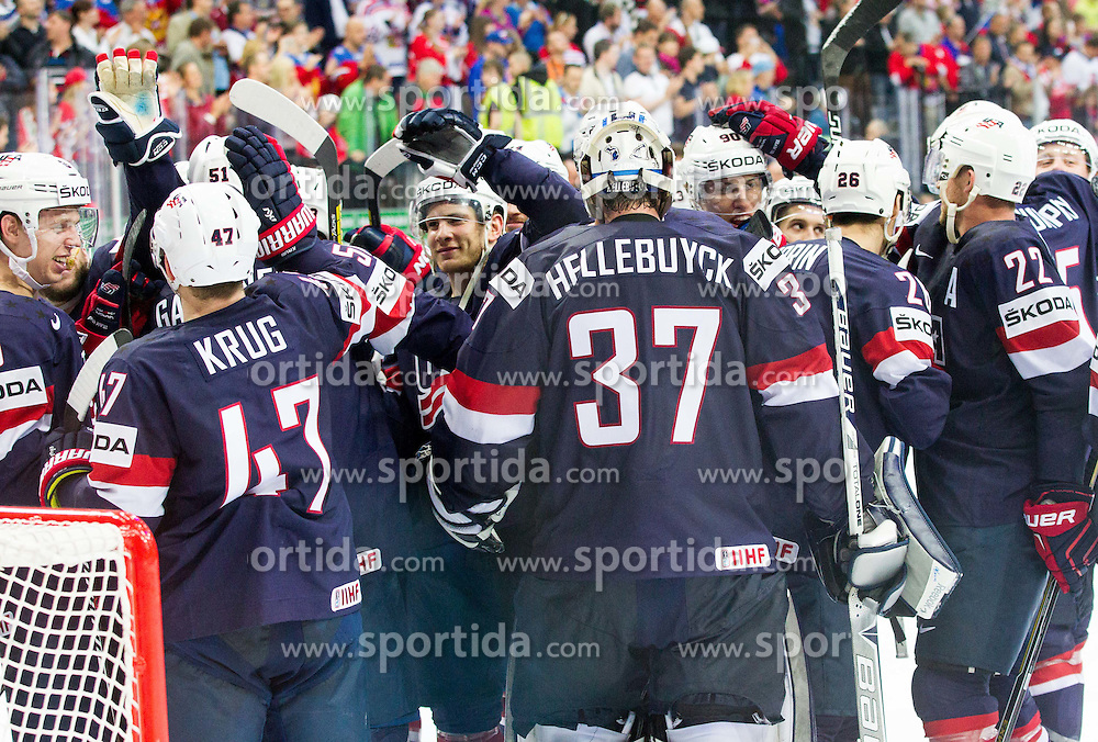 Connor Hellebuyck of USA and other players celebrate after winning during Ice Hockey match between USA and Czech Republic at Third place game of 2015 IIHF World Championship, on May 17, 2015 in O2 Arena, Prague, Czech Republic. Photo by Vid Ponikvar / Sportida