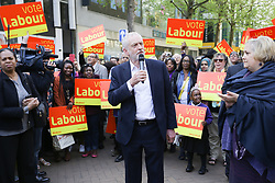 © Licensed to London News Pictures. 19/04/17. Croydon, UK.  Labour Party leader JEREMY CORBYN addresses supporters in Croydon town centre, joined by labour councillors and supporters, on the day that the House of Commons voted for a asap general election on June 8, 2017.  Photo credit: Grant Melton/LNP