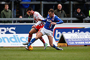 Carlisle United Forward Charlie Wyke gets the ball during the Sky Bet League 2 match between Carlisle United and Stevenage at Brunton Park, Carlisle, England on 20 February 2016. Photo by Craig McAllister.