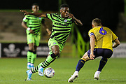 Forest Green Rovers Ebou Adams(14) runs at Coventry City's Liam Kelly(6) during the Leasing.com EFL Trophy match between Forest Green Rovers and Coventry City at the New Lawn, Forest Green, United Kingdom on 8 October 2019.