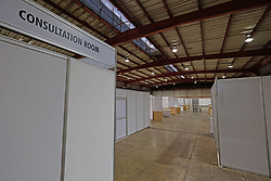 JOHANNESBURG, SOUTH AFRICA - APRIL 25: Private consultation rooms at the Nasrec quarantine site currently under construction. With isolation units, consultation areas, ICU capabilitiies, medical facilities, power points, drainage and ablutions the quarantine site has a total bed capacity of 2300 on April 25, 2020 in Johannesburg South Africa. Under pressure from a global pandemic. President Ramaphosa declared a 21 day national lockdown extended by another two weeks, mobilising goverment structures accross the nation to combat the rapidly spreading COVID-19 virus - the lockdown requires businesses to close and the public to stay at home during this period, unless part of approved essential services. (Photo by Dino Lloyd)