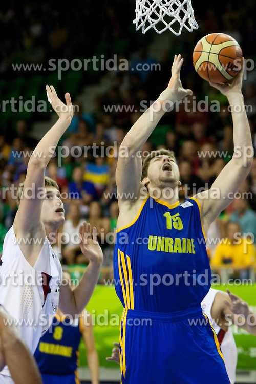 Viacheslav Kravtsov #15 of Ukraine during basketball match between National teams of Germany and Ukraine at Day 3 of Eurobasket 2013 on September 6, 2013 in Tivoli Hall, Ljubljana, Slovenia. (Photo By Urban Urbanc / Sportida )