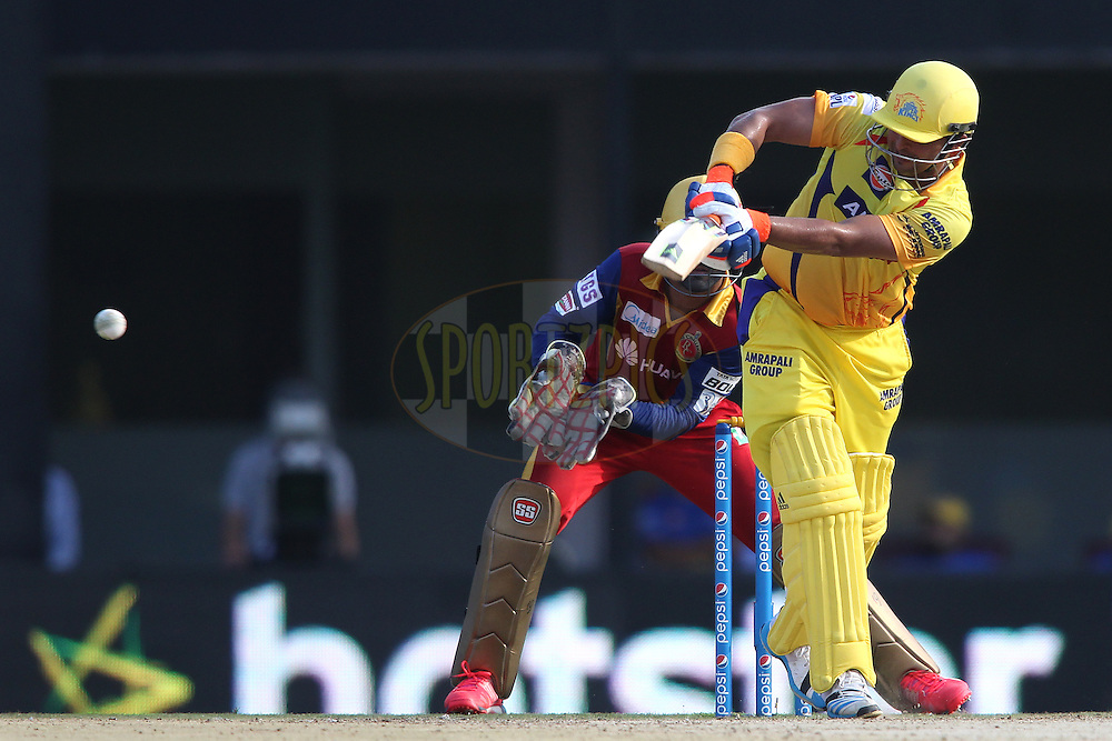 Suresh Raina of Chennai Super Kings plays a delivery through the leg side during match 37 of the Pepsi IPL 2015 (Indian Premier League) between The Chennai Superkings and The Royal Challengers Bangalore held at the M. A. Chidambaram Stadium, Chennai Stadium in Chennai, India on the 4th May April 2015.<br /> <br /> Photo by:  Shaun Roy / SPORTZPICS / IPL