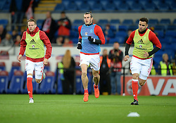 Gareth Bale of Wales and Chris Gunter of Wales warms up prior to kick off. - Mandatory by-line: Alex James/JMP - 12/11/2016 - FOOTBALL - Cardiff City Stadium - Cardiff, United Kingdom - Wales v Serbia - FIFA European World Cup Qualifiers