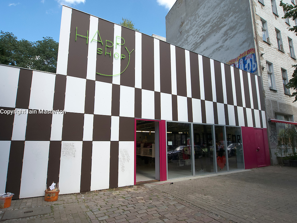 New hip fashion shop called Happy Shop on Tor strasse in Berlin Germany