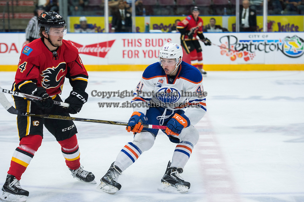 PENTICTON, CANADA - SEPTEMBER 17: Tomas Soustal #41 of Edmonton Oilers stick checks Rasmus Anderson #54 of Calgary Flames on September 17, 2016 at the South Okanagan Event Centre in Penticton, British Columbia, Canada.  (Photo by Marissa Baecker/Shoot the Breeze)  *** Local Caption *** Rasmus Anderson; Tomas Soustal;
