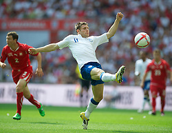 LONDON, ENGLAND - Saturday, June 4, 2011: England's James Milner in action against Switzerland during the UEFA Euro 2012 qualifying Group G match at Wembley Stadium. (Photo by David Rawcliffe/Propaganda)