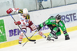 16.12.2014, Hala Tivoli, Ljubljana, SLO, EBEL, HDD Telemach Olimpija Ljubljana vs EC KAC, 28. Runde, in picture Thomas Koch (EC KAC, #18) vs Ziga Pesut (HDD Telemach Olimpija, #11) during the Erste Bank Icehockey League 28. Round between HDD Telemach Olimpija Ljubljana and EC KAC at the Hala Tivoli, Ljubljana, Slovenia on 2014/12/16. Photo by Matic Klansek Velej / Sportida