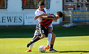 Dan Hogan making the challenege during the Pre-Season Friendly match between Lewes FC and Crystal Palace at the Dripping Pan, Lewes, United Kingdom on 1 August 2015. Photo by Michael Hulf.