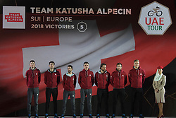 February 23, 2019 - Abu Dhabi, United Arab Emirates - Team Katusha - Alpecin from Switzerland, during the Team Presentation, at the opening ceremony of the 1st UAE Tour, inside Louvre Abu Dhabi museum..On Saturday, February 23, 2019, Abu Dhabi, United Arab Emirates. (Credit Image: © Artur Widak/NurPhoto via ZUMA Press)