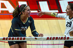 BLOOMINGTON, IL - September 14: McKenna Melville and Makenzie Kuchmaner celebrate during a college Women's volleyball match between the ISU Redbirds and the University of Central Florida (UCF) Knights on September 14 2019 at Illinois State University in Normal, IL. (Photo by Alan Look)