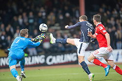 Ross County's keeper Antonio Reguero saves from Dundee's Stewart. <br /> Half time : Dundee 0 v 0 Ross County, SPFL Premiership game player 4/1/2015 at Dundee's home ground Dens Park.