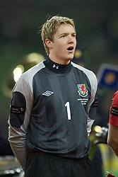 DUBLIN, IRELAND - Tuesday, February 8, 2011: Wales' goalkeeper Wayne Hennessey sings the national anthem before the opening Carling Nations Cup match against the Republic of Ireland at the Aviva Stadium (Lansdowne Road). (Photo by David Rawcliffe/Propaganda)