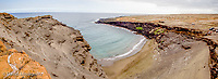 Panorama of Green Sands beach, a popular destination on the southern end of the Big Island of Hawaii. Three frames stitched together