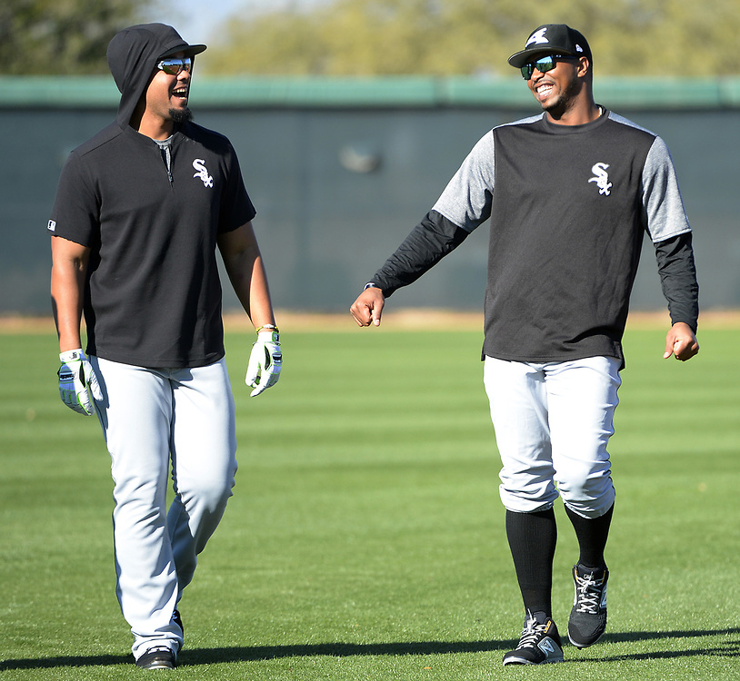 GLENDALE, ARIZONA - FEBRUARY 19: Jose Abreu #79 (L) and Eloy Jimenez #74 of the Chicago White Sox look on during spring training workouts on February 19, 2019 at Camelback Ranch in Glendale Arizona.  (Photo by Ron Vesely). Subject:   Jose Abreu; Eloy Jimenez