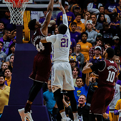 Jan 23, 2018; Baton Rouge, LA, USA; Texas A&M Aggies forward Robert Williams (44) blocks a shot by LSU Tigers forward Aaron Epps (21) during the first half at the Pete Maravich Assembly Center. Mandatory Credit: Derick E. Hingle-USA TODAY Sports