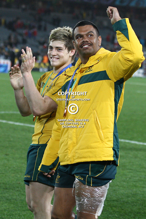 AUCKLAND, NEW ZEALAND - OCTOBER 21, James O'Connor with Kurtley Beale during the 2011 IRB Rugby World Cup 3rd &amp; 4th playoff match between Australia and Wales at Eden Park on October 21, 2011 in Auckland, New Zealand<br /> Photo by Steve Haag / Gallo Images