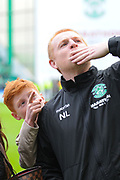 Neil Lennon and son Gallacher after the Ladbrokes Scottish Premiership match between Hibernian and Rangers at Easter Road, Edinburgh, Scotland on 13 May 2018. Picture by Kevin Murray.