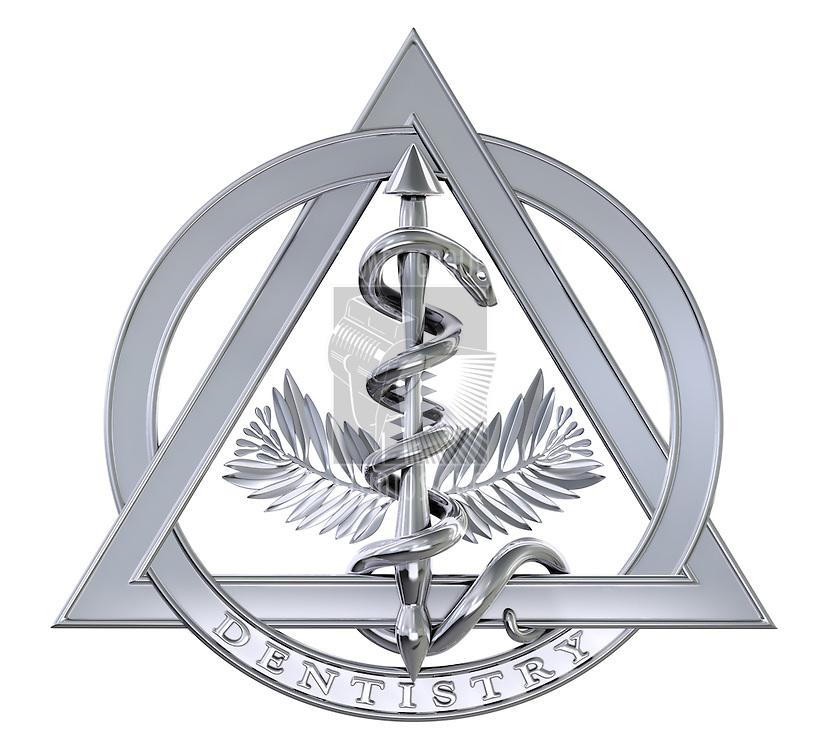 Chrome dentistry symbol on white