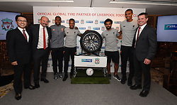 HONG KONG, CHINA - Monday, July 17, 2017: Liverpool FC and Falken Tyres announce their new partnership at a press event at the Ritz-Carlton Hotel in Kowloon, Hong Kong, ahead of the Premier League Asia Trophy 2017. L-R: Saturo Yamatomo, Director and Senior Executive Officer of Sumitomo Rubber Industries; Peter Moore, CEO, Liverpool FC; Liverpool FC First Team Players: Daniel Sturridge, Nathaniel Clyne, Mohamed Salah & Joel Matip;  Billy Hogan, Chief Commercial Officer and Managing Director, Liverpool FC. (Pic by Andrew Powell/Liverpool FC/Pool/Propaganda)