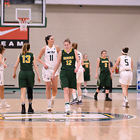 4th year forward Christina McCusker (12) of the Regina Cougars during the Women's Basketball home game on January 6 at Centre for Kinesiology, Health and Sport. Credit: Arthur Ward/Arthur Images