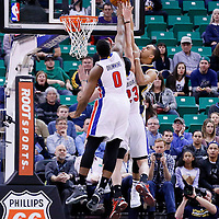 25 January 2016: Utah Jazz forward Trey Lyles (41) is blocked by Detroit Pistons center Andre Drummond (0) as he goes for the dunk over Detroit Pistons forward Ersan Ilyasova (23) during the Detroit Pistons 95-92 victory over the Utah Jazz, at the Vivint Smart Home Arena, Salt Lake City, Utah, USA.