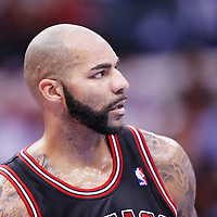 24 November 2013: Chicago Bulls power forward Carlos Boozer (5) rests during the Los Angeles Clippers 121-82 victory over the Chicago Bulls at the Staples Center, Los Angeles, California, USA.
