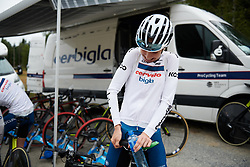 Cecilie Uttrup Ludwig (DEN) adjusts her saddle at Ladies Tour of Norway 2018 Team Time Trial, a 24 km team time trial from Aremark to Halden, Norway on August 16, 2018. Photo by Sean Robinson/velofocus.com