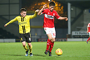Kian Spence of Middlesbrough (52) dribbles his way into the Burton box during the EFL Trophy group stage match between Burton Albion and U21 Middlesbrough at the Pirelli Stadium, Burton upon Trent, England on 7 November 2018.