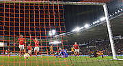Hull City midfielder Sone Aluko (24) scores(on floor) to go 1 all  during the Sky Bet Championship match between Hull City and Nottingham Forest at the KC Stadium, Kingston upon Hull, England on 15 March 2016. Photo by Ian Lyall.