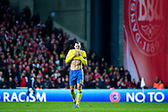 17.11.2015. Copenhagen, Denmark. <br /> Sweden's Zlatan Ibrahimovic reacts their UEFA EURO 2016 play-off second leg against Denmark.<br /> Photo: © Ricardo Ramirez.
