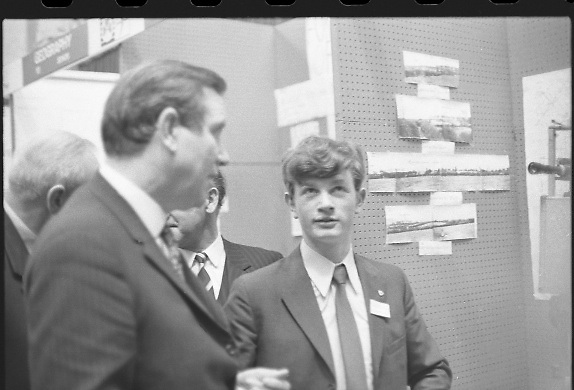Aer Lingus Young Scientist of the Year..1971..08.01.1971..01.08.1971..8th January 1971..The annual Aer Lingus Young Scientist of the year was held in The R.D.S.Dublin.Once again, this year,there was an outstanding display of projects by school children from around the country,many of which,it is hoped,will have applications into the future. The main speaker at the event was Mr Patrick Faulkner TD, Minister for Education..The Overall winner of the Aer Lingus Young Scientist of the Year,Peter J Shortt is pictured describing his project to the Minister for Education, Mr Patrick Faulkner TD.