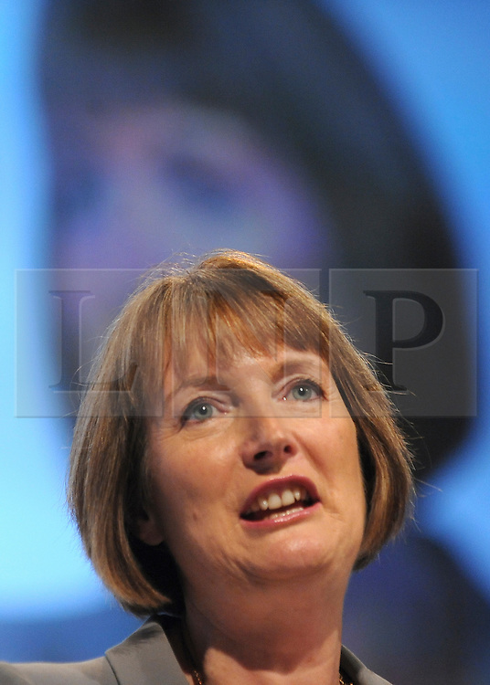 © Licensed to London News Pictures. 29/09/2011. LONDON, UK. Harriet Harman MP, Deputy Leader of the Labour Party  addresses The Labour Party Conference in Liverpool today (2829/09/11). Photo credit:  Stephen Simpson/LNP