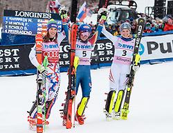 26.11.2017, Killington, USA, FIS Weltcup Ski Alpin, Killington, Slalom, Damen, 2. Lauf, im Bild v.l. Petra Vlhova (SVK, 2. Platz), Mikaela Shiffrin (USA, 1. Platz)Bernadette Schild (AUT, 3. Platz), // f.l. second placed Petra Vlhova of Slovakia winner Mikaela Shiffrin of the USA third placed Bernadette Schild of Austria after their 2nd run of ladie's Slalom of FIS ski alpine world cup in Killington, United Staates on 2017/11/26. EXPA Pictures © 2017, PhotoCredit: EXPA/ Johann Groder