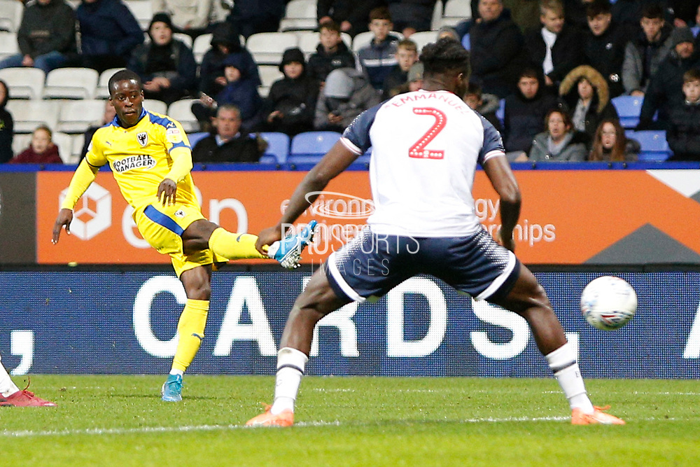 Paul Osew of Wimbledon  during the EFL Sky Bet League 1 match between Bolton Wanderers and AFC Wimbledon at the University of  Bolton Stadium, Bolton, England on 7 December 2019.