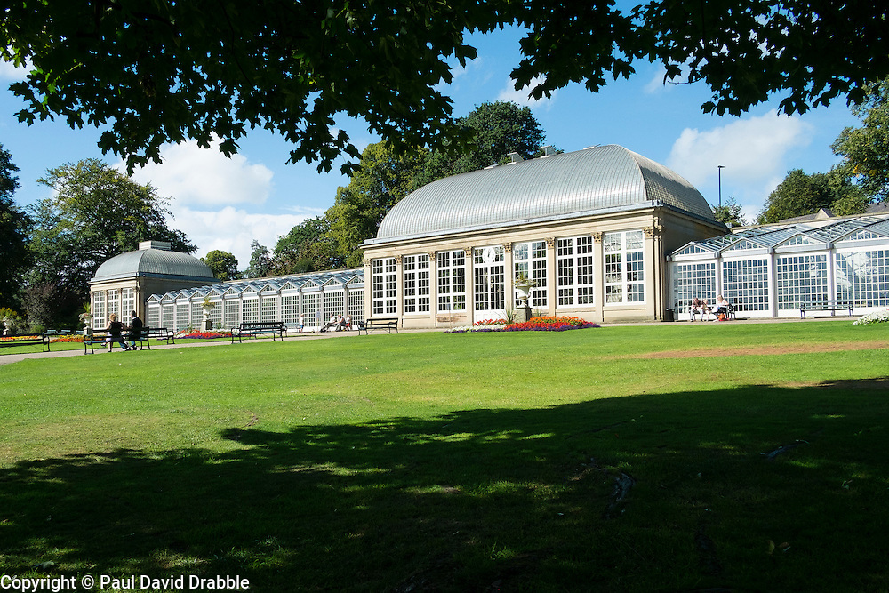 The glass pavilions in Sheffield Botanical Gardens are grade II listed buildings.An original feature of the Gardens when it opened in 1836, the recorded designer was local architect Benjamin Broomhead Taylor.<br /> <br />   11 September 2016<br />   Copyright Paul David Drabble<br />   www.pauldaviddrabble.photoshelter.com
