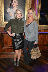 Left to right, PIPS TAYLOR and ERICA BERGSMEDS at the launch of MNKY HSE Restaurant, 10 Dover Street, London on 19th October 2016.
