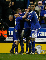 Photo: Steve Bond/Sportsbeat Images.<br />Leicester City v West Bromwich Albion. Coca Cola Championship. 08/12/2007. Iain Hume celebrates his controversial equaliser
