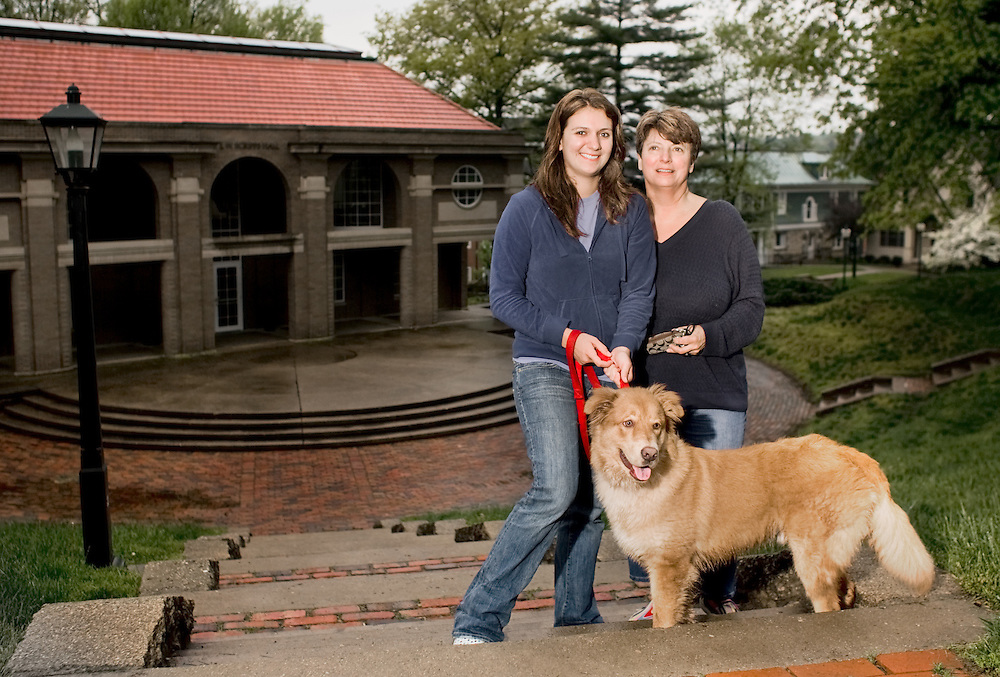 Beth Brautigan, right, spens some time on campus with her daughter Bailey during mom's weekend on the Ohio University campus.