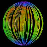 This image of the moon is from NASA's Moon Mineralogy Mapper on the Indian Space Research Organization's Chandrayaan-1 mission. It is a three-color composite of reflected near-infrared radiation from the sun, and illustrates the extent to which different materials are mapped across the side of the moon that faces Earth. Small amounts of water and hydroxyl (blue) were detected on the surface of the moon at various locations. This image illustrates their distribution at high latitudes toward the poles. Blue shows the signature of water and hydroxyl molecules as seen by a highly diagnostic absorption of infrared light with a wavelength of three micrometres. Green shows the brightness of the surface as measured by reflected infrared radiation from the sun with a wavelength of 2.4 micrometres, and red shows an iron-bearing mineral called pyroxene, detected by absorption of 2.0-micrometer infrared light.