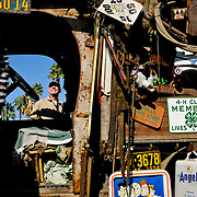Dan Smith, of Palm Springs California, examines an antique-laden vintage truck on display at the Dr. George Car Show, held at the Indian Wells Tennis Garden in Indian Wells, California, on February 14, 2009.  Photo by Jen Klewitz