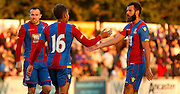 Joe Ledley and Dwight Gayle celebrate Palace's 5th during the Pre-Season Friendly match between Bromley and Crystal Palace at the Courage Stadium, Bromley, United Kingdom on 30 July 2015. Photo by Michael Hulf.