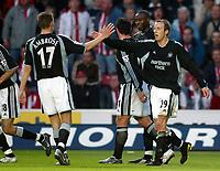 Photo: Scott Heavey, Digiatlsport<br /> NORWAY ONLY<br /> <br /> Southampton v Newcastle united. FA Barclaycard Premiership. 12/05/2004.<br /> Lee Bowyer celebrates putting Newcastle 2-1 ahead