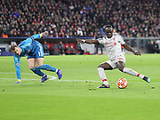 Sadio Mane scores Liverpool's first goal during the Champions League round of 16, leg 2 of 2 match between Bayern Munich and Liverpool at the Allianz Arena stadium, Munich, Germany on 13 March 2019.