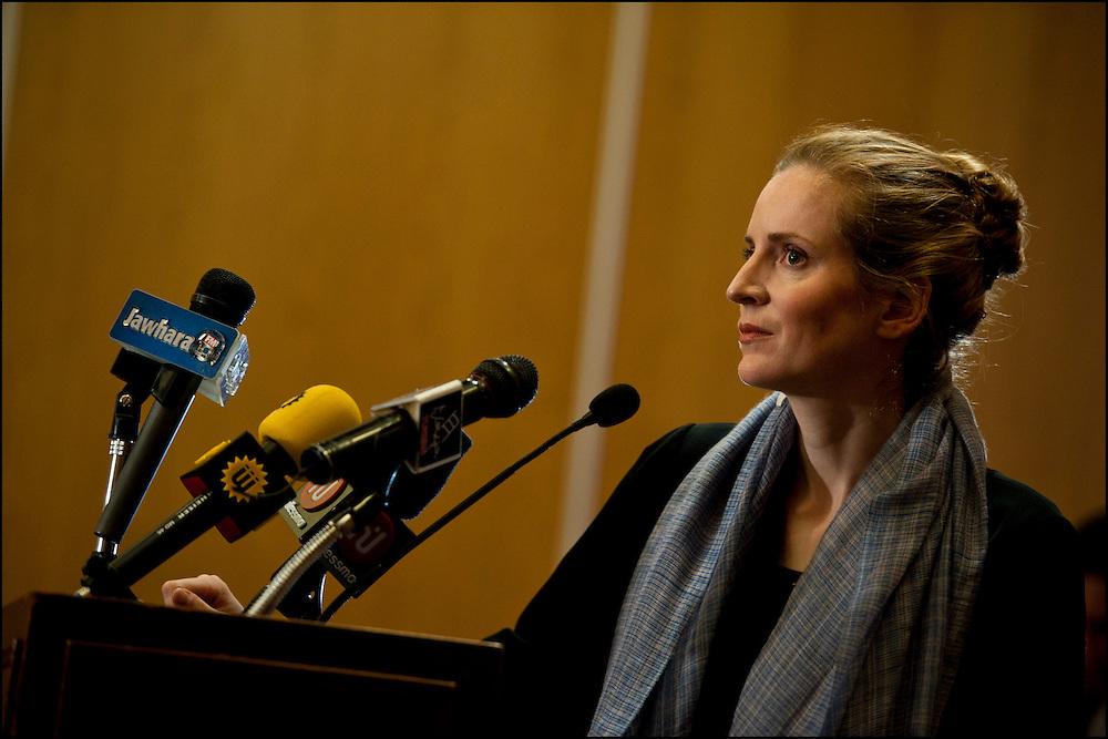 Nathalie Kosciusko-Morizet Ministre de l'Écologie, du Développement durable, des Transports et du Logement en visite à Tunis lors d'une conférence de presse, Tunis le 7 Mars 2011..© Benjamin Girette/IP3 press