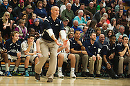 Burlington head coach Matt Johnson complains about a call during the boys high school semi final basketball game between the Mount Anthony Patriots and the Burlington Sea Horses at Patrick Gym on Saturday afternoon February 27, 2016 in Burlington. (BRIAN JENKINS/for the FREE PRESS)