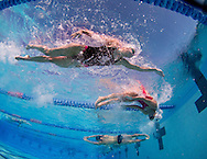 Swimmers practice at the Roseville Aquatic Center.