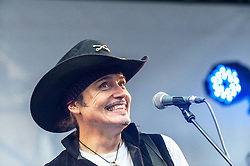Adam Ant performs at the Berwick Street Record Day in London.