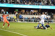 March 2, 2019; San Jose, CA, USA; Montreal Impact midfielder Saphir Taider (8) scores a goal past San Jose Earthquakes defender Nick Lima (24) and goalkeeper Daniel Vega (17) during the first half at Avaya Stadium.